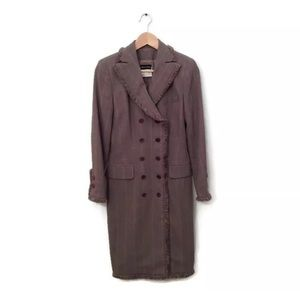 Rena Lange Coat Jacket Brown Long Double Breast 36